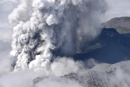 Japan's Mount Ontake erupts on 27 September 2014.