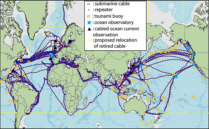 Environmental sensors incorporated into submarine telecommunications cable systems could form a real-time data network.