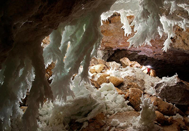 Gypsum chandeliers in Carlsbad National Park's Lechuguilla Cave