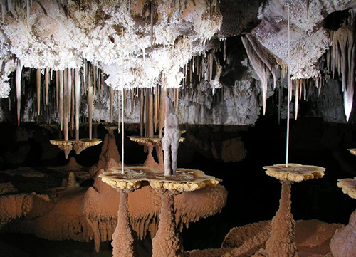 Stalagmites and stalactites in Carlsbad National Park's Lechuguilla Cave