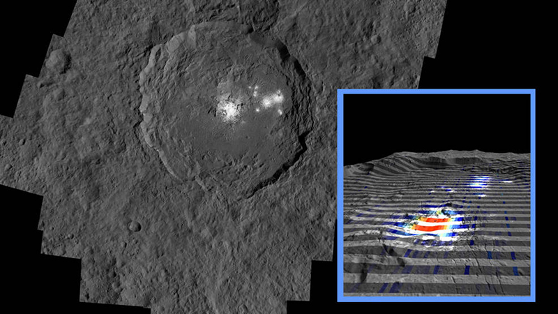 An image of the bright spot in Ceres's Occator crater, taken by NASA's Dawn probe.
