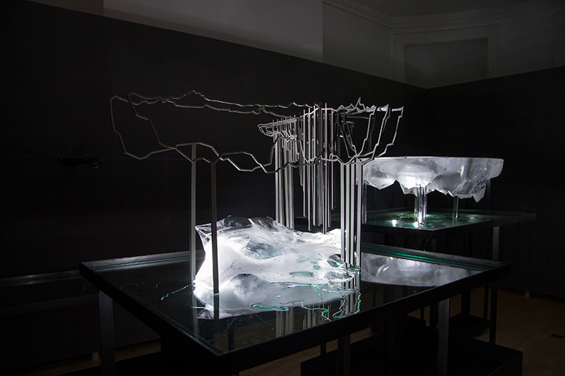Partially melted ice floe replicas on display in London.