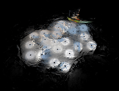 Composite three-dimensional lidar point cloud of an Arctic sea ice floe in the Fram Strait.
