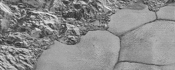 An image of Pluto's diverse surface features.