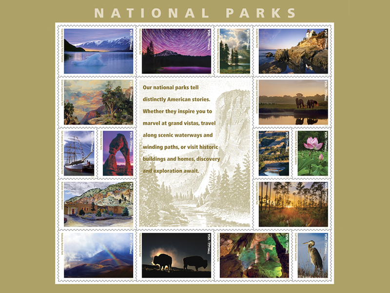 National Park Service centennial stamp sheet.