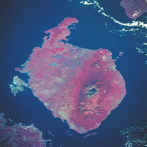 Satellite image of Mount Rinjani. Credit: NASA