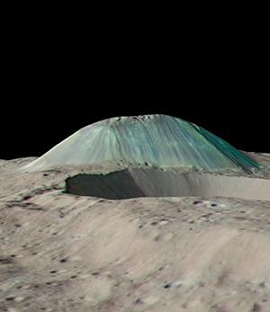 False-color image of Ceres's cryovolcano, Ahuna Mons.