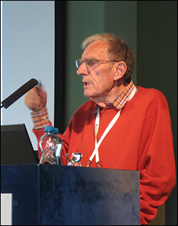 Adam Dziewonski at the ISC-50 session of the June 2015 IUGG General Assembly in Prague.