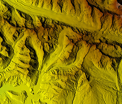 Digital topographic map of Gulkana Glacier, eastern Alaska Range.