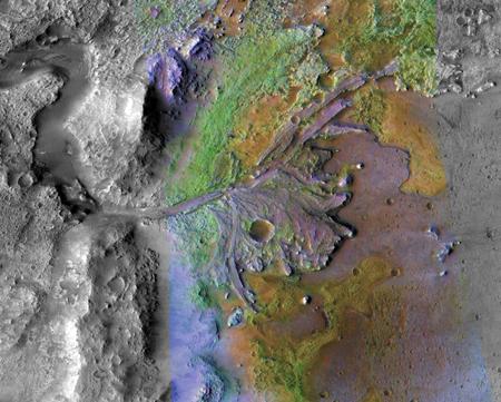 Apparent delta in Jezero Crater on Mars.