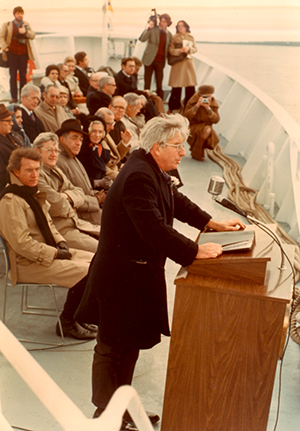 Knauss at the 1976 R/V Endeavor christening ceremony.