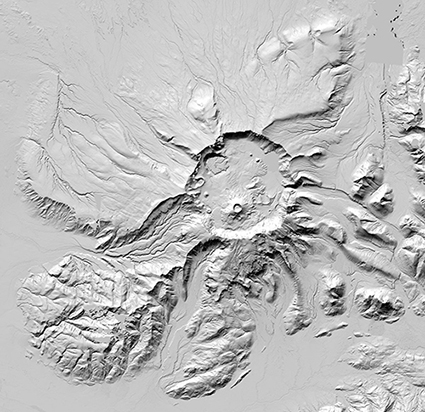 Digital topographic map of Mount Aniakchak, Aleutian Range of Alaska.