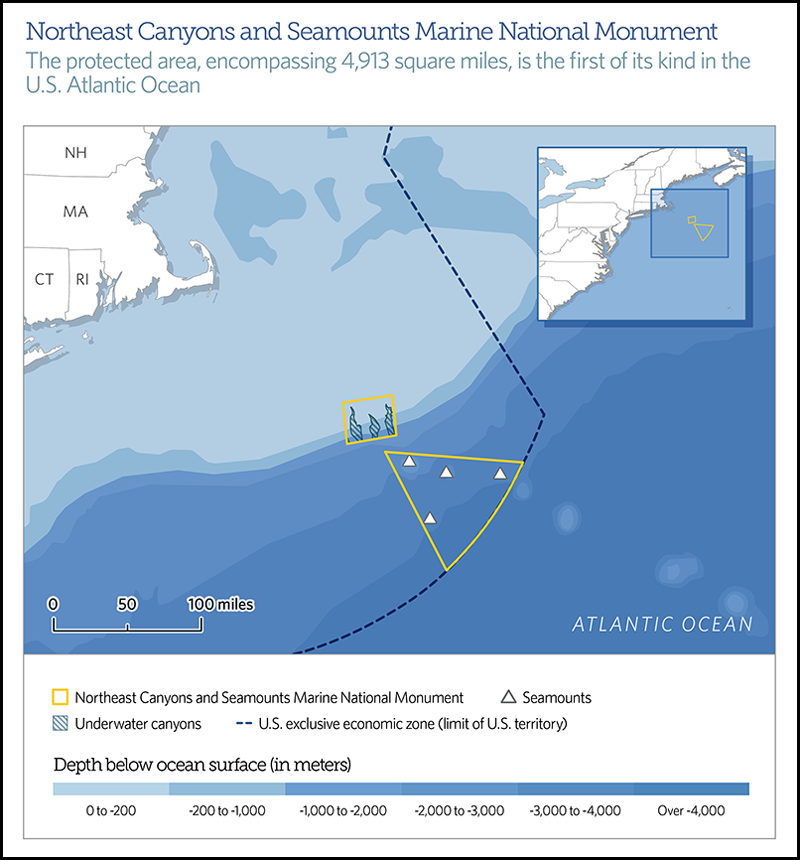 A map locating the new Northeast Canyons and Seamounts Marine National Monument.