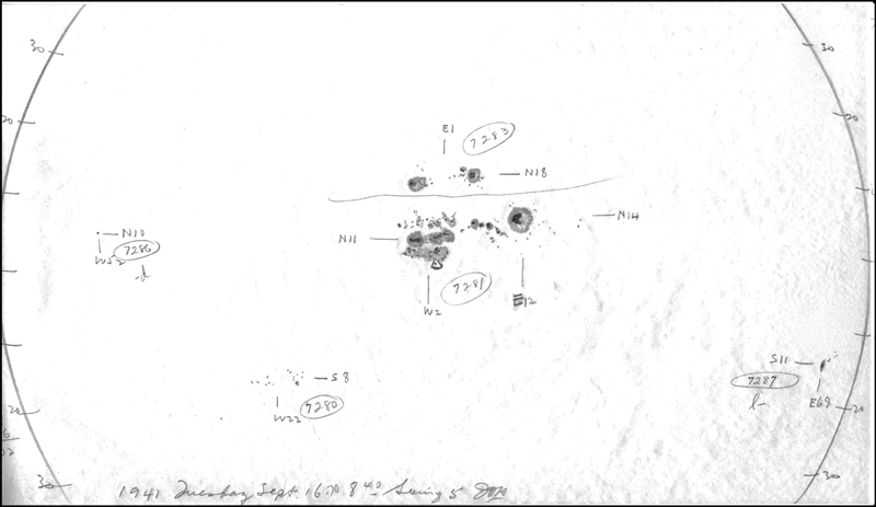 Drawing of sunspots observed from Mount Wilson Observatory, California, on 16 September 1941, prior to a geomagnetic storm.