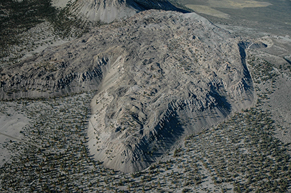 Aerial view to the south of a rhyolite dome in the Mono Craters chain of eastern California.