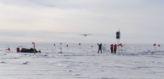 A Twin Otter plane arrives to bring the team back to South Pole after they deploy the PG4 AAL-PIP site.