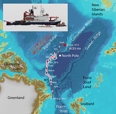 Drift track map of the hovercraft-based Arctic sea ice research station