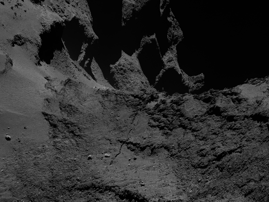 A processed image of the crack on comet 67P/Churyumov-Gerasimenko.