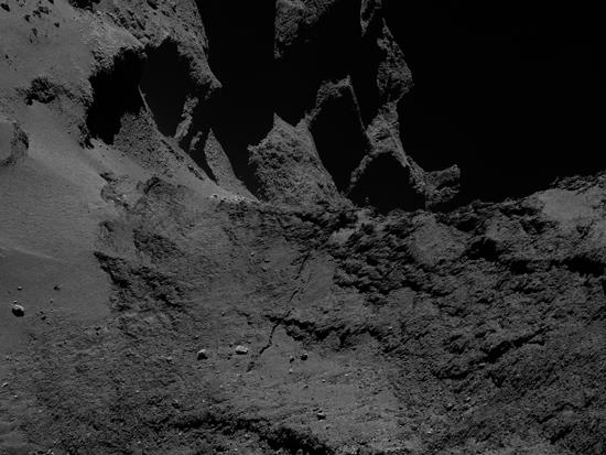 A processed image of the crack on comet 67P/Churyumov-Gerasimenko.
