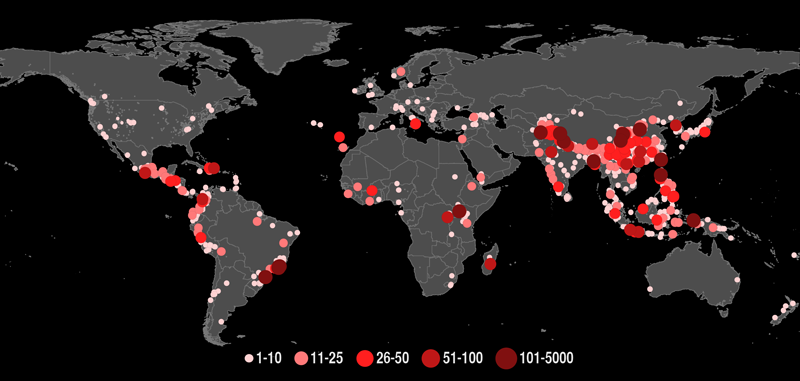 A map of fatal landslides triggered by rainfall across the world from 2007 to 2013.