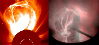Scientists recreate conditions for coronal mass ejections in the laboratory.