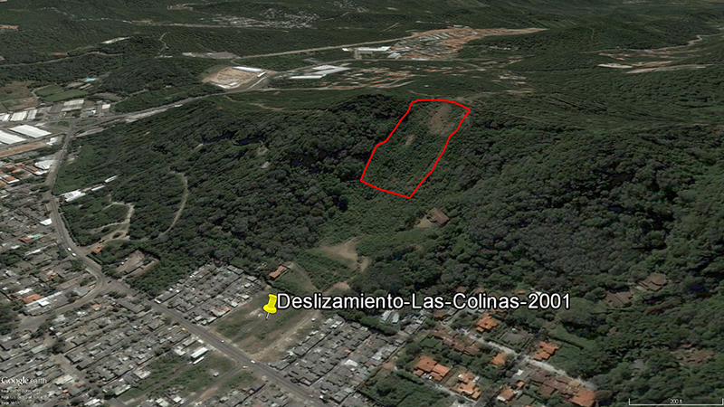 Landslide triggered by an earthquake near the town of Las Colinas, El Salvador, in January 2001