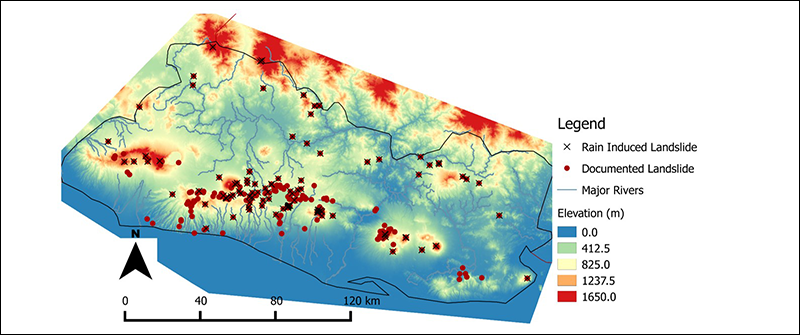 Map of documented Salvadoran landslides, indicating which ones were induced by rain