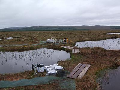 Field instruments making measurements at Cross Lochs peatland, Scotland, U.K.