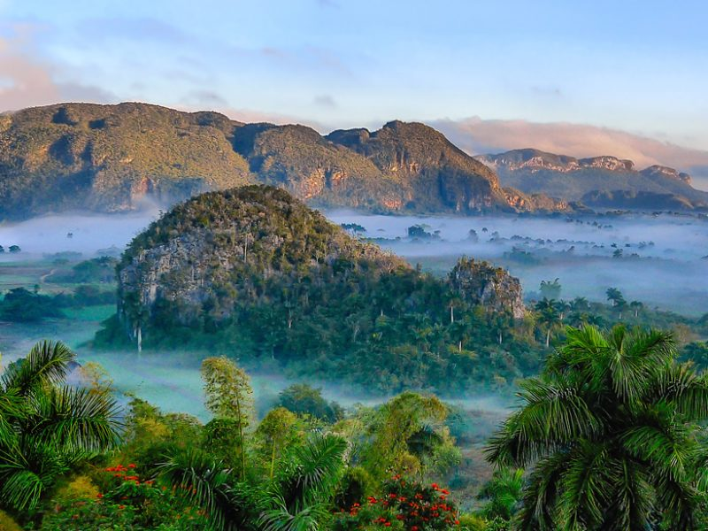 A United Nations Educational, Scientific and Cultural Organization World Heritage site, the Viñales Valley in Cuba has a rich geologic history. The mountains are part of the fold and thrust belts of the Guaniguanico Terrane, and the area is known for its traditional agricultural techniques. Credit: Simon Matzinger, CC BY 2.0