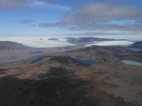 A variety of ecosystems coexist southeast of Kangerlussuaq at the margin of the Greenland Ice Sheet.