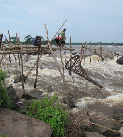The Wagenia fishermen at Stanley Falls on the Congo River next to the city of Kisangani. Credit: Alain Laraque, Institut de Recherche pour le Développement (IRD), Toulouse, France