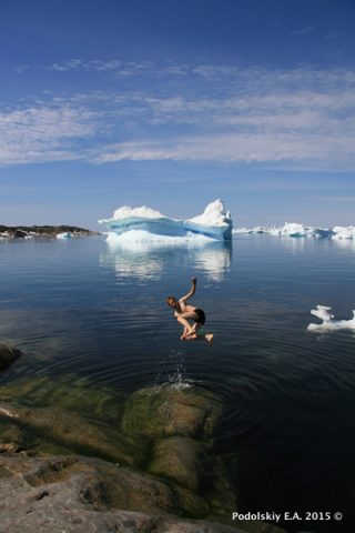The lead author plunges into uncharted waters of cryoseismology. Credit: Evgeny Podolskiy