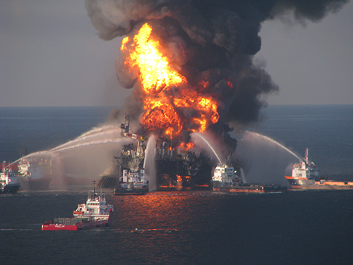 Fire persists a day after the Deepwater Horizon explosion.