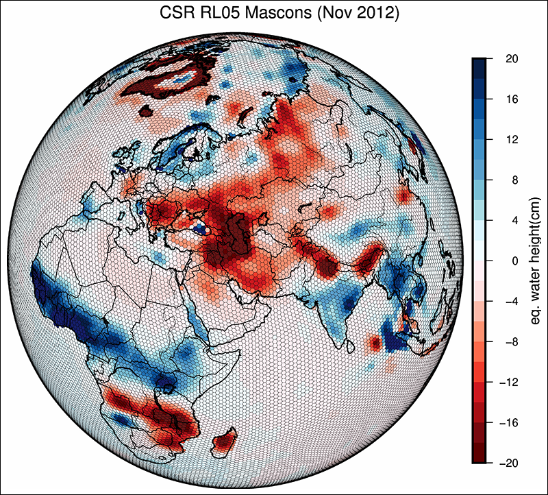 Scientists track how Earth's gravity changes targeted grid locations.