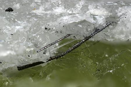5-millimeter-long sample of new mineral, merelaniite.