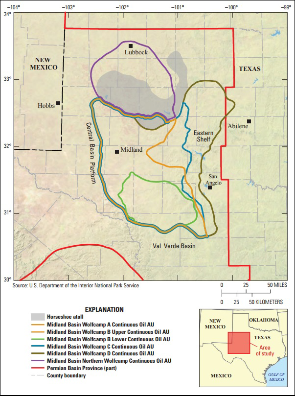 Map of Midland Basin, site of Wolfcamp shale.