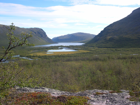 View over Alesätno delta in the mountains of northern Sweden.