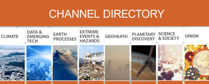 The eight channels featured on AGU On-Demand.