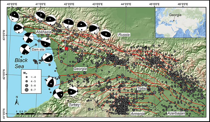Active faults of Caucasus in Georgia and main earthquake epicenters
