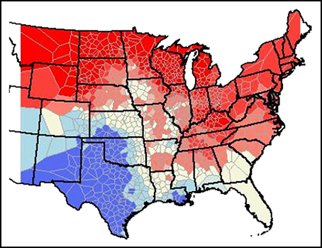 Populations of dickcissels during the recent El Niño; red means high numbers.