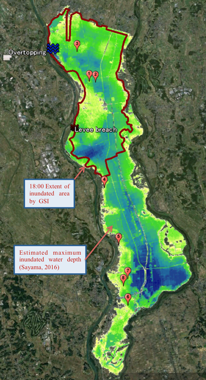 Map of the 2015 Kinu River Flood, overlain with information from Twitter.