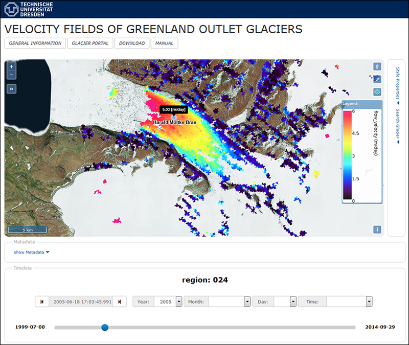 Screenshots of data display tools in the web portal display