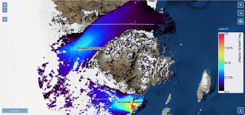 Flow velocity field inferred for the outlet glaciers of the Northeast Greenland Ice Stream, 12 May 2013