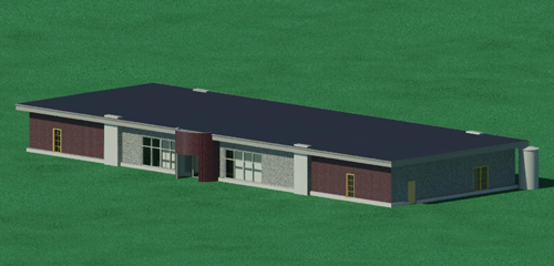 The Midway municipal building design shown in this rendering incorporates many budget-friendly green features.