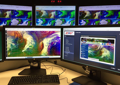 Forecasters can access training material while viewing and analyzing imagery during the demonstration.