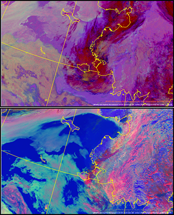 VIIRS data display for nighttime and daytime low clouds and fog over the Bering Sea