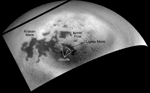 Cassini's ISS camera spotted clouds in Titan's northern hemisphere in October 2016. Although small clouds have occasionally appeared in the northern hemisphere, researchers are waiting for large summer storm clouds to form, as their models suggest. Credit: NASA/JPL-Caltech/Space Science Institute
