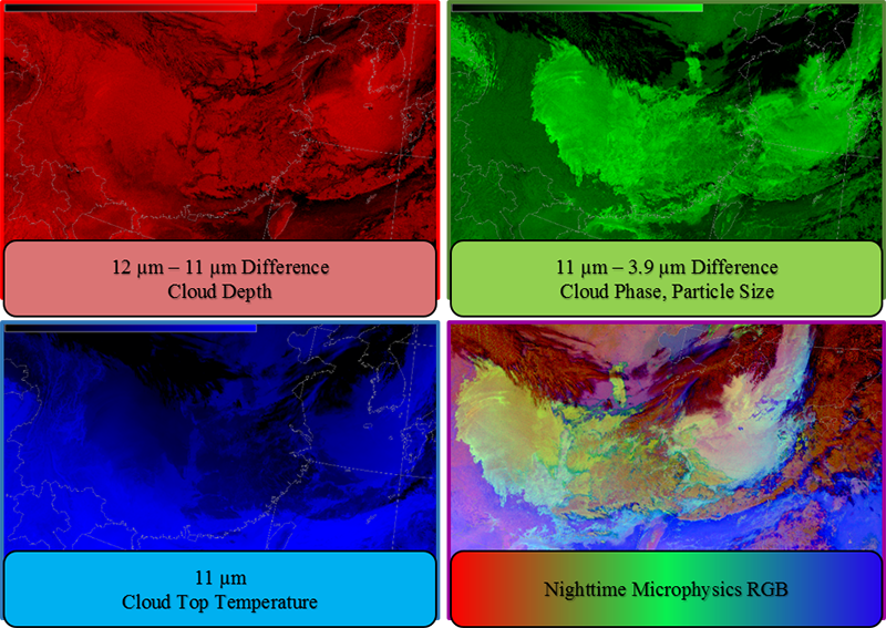 Red, green, and blue components for the NtMicro RGB imagery and the resulting composite image.