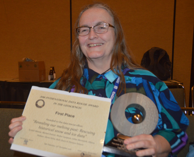 Ruth Duerr of the Ronin Institute represented a project that won the 2016 International Data Rescue Award in the Geosciences.