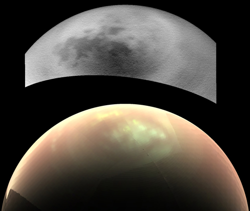 Titan's northern regions, imaged by two cameras aboard the Cassini spacecraft, show that one instrument can see clouds that the other could not.